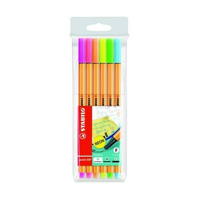 Stabilo Point 88 Neon Penna Fineliner Astuccio da 6 Colori Assortiti fluo 88/6-1