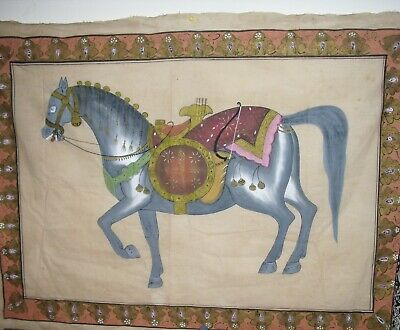 "VINTAGE  ""HORSE"" WITH BORDER DETAIL PRINTED ON FABRIC ~  47"" x 36"" ~"