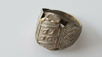 Antique 18/19 hundreds beautiful, silvered copper alloy ring. found Europe L146r