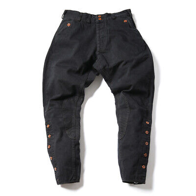 NON STOCK Vintage Motorcycle Breeches For Men Riding Pants Mid-Rise Black