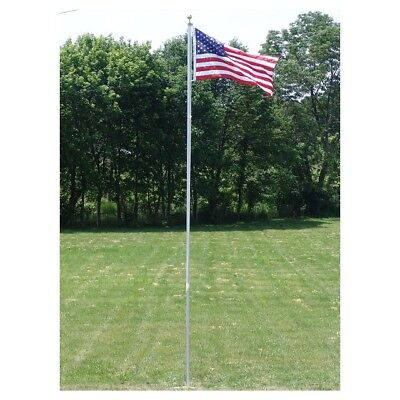 20 Ft.valley Forge Flagpole With (1) 3'X5' Flag & (2) U.s. Car Antenna Flags