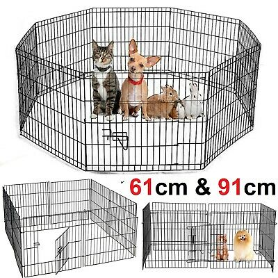 8 Panel Metal Foldable Pet Dog Playpen Cage Rabbit Run Fence Enclosure Guinea UK