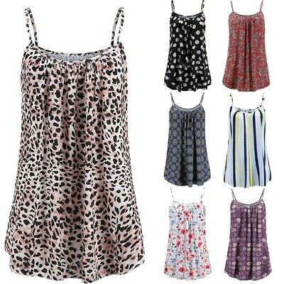 Summer Womens Plus Size Loose Sleeveless  Printed Tops Basic Camisole Tank Tops