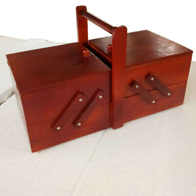 UK Shabby Chic Wooden Vintage Sewing Box Craft Storage Cantilever Case