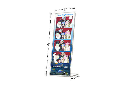 """2""""W x 6""""H Sign Holder Frame Photo Booth Strip Slanted Ad Frame Table Qty 6"""