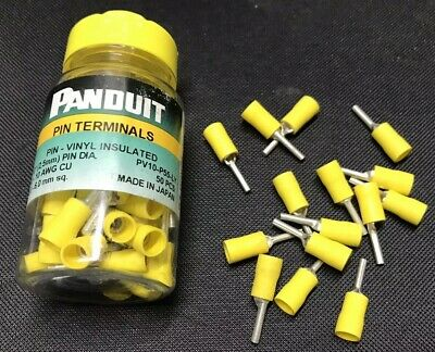 Panduit 50 Pack - PV10-P55 Pin Terminal Vinyl Insulated 12-10 AWG - PV10-P55-LY