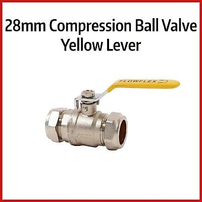28mm Compression Lever Ball Valve | YELLOW Handle | GAS