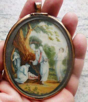 Superb Antique Miniature Painting Of Ancient British Druids Dated 1811