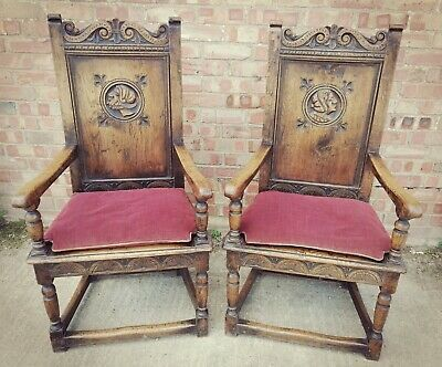 Antique Jacobean Style Solid Oak Carved Wooden Hall Chairs