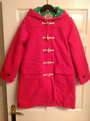 Mini Boden girls bright pink padded hooded wool duffle coat, 11-12 Y, 158 cm