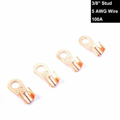 "Copper Battery Terminal Lugs Connection Kit Upto 5AWG Wire 3/8"" Stud Ring 4PCS"