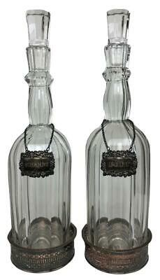 Antique LIBBEY GLASS Crystal Wine Decanters Bottles Stoppers Sterling Wine Tags