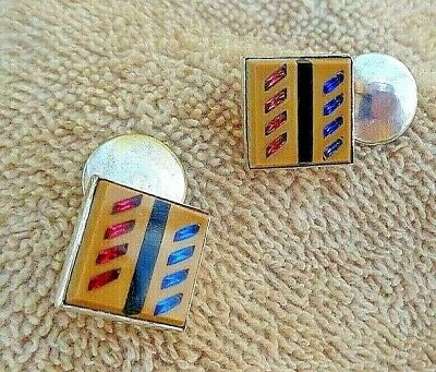 RARE ART DECO STERLING AND INLAID GLASS IN GLASS CUFF LINKS FROM  THE 1930s/40s
