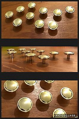 6 Knobs Polished Brass Round Cabinets Drawer Pulls Mid Century Deco Vintage