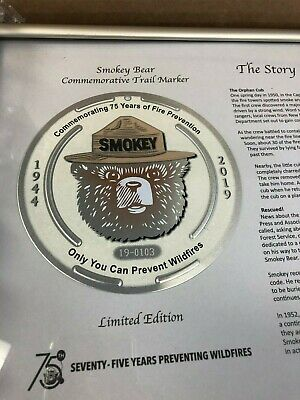 Smokey Bear Framed 75th Birthday Limited Edition Trail Marker Only 2,000 Made