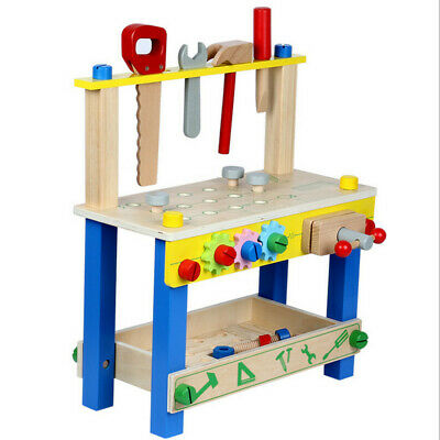 Little Carpenters Workbench Toy, Pretend Play Wooden Toy Work Station Tools UK