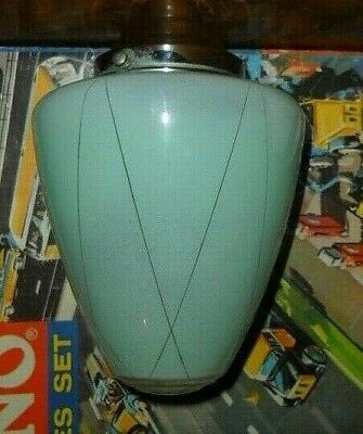 mid century conical glass Lamp Shade c1950s Aqua, clear glass bullseye tip Vgc