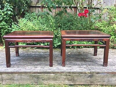 A Pair Of Hardwood Chinese Low Tables