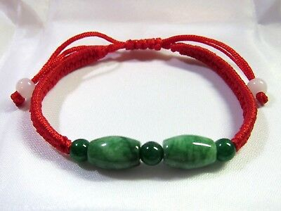 NATURAL GREEN Barrel & Round Jade Chinese Lucky FENG SHUI Bracelet - red thread
