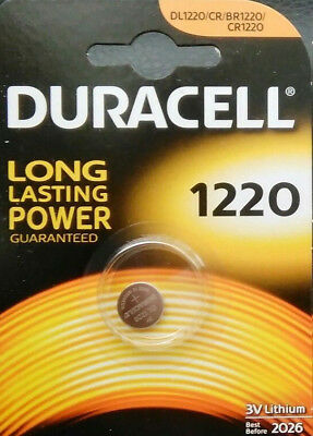 1x Duracell CR1220 3V Lithium Button Battery Coin Cell DL1220 FREE P&P UK