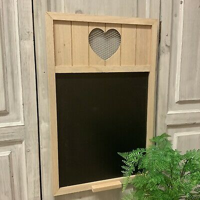 Large Wooden Black Board Heart Detail Country Kitchen Vintage Chic Chalk Mesh