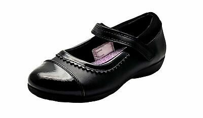 Girls School Shoes in Black Leather with Patent Toe Cap from Chatterbox
