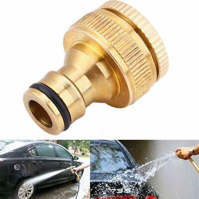 "Brass Hose Tap Connector 3/4"" threaded garden water Adaptor Quick Pipe Fitt R6E6"