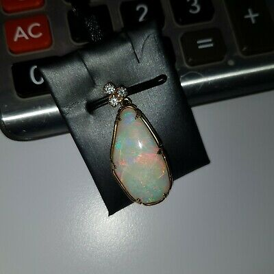 VINTAGE WHITE OPAL PENDANT IN 14K YELLOW GOLD WITH 0.30ctw DIAMONDS