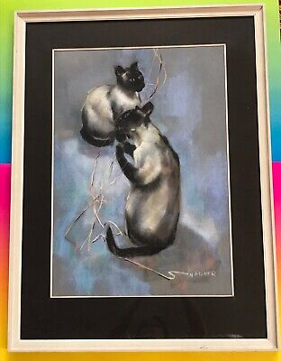 Original Pastel Painting Siamese Cat Cats Playing  N. Fisher Drawing