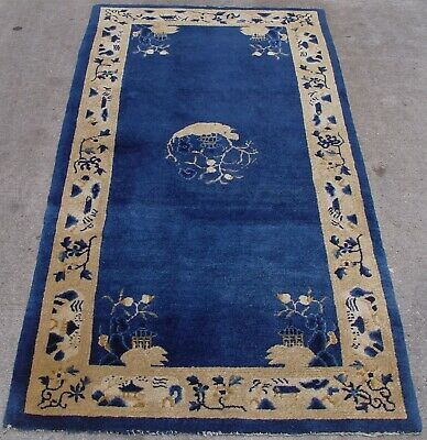 """ANTIQUE CHINESE BLUE PEKING HAND-KNOTTED WOOL ORIENTAL RUG   3'1"""" x 5'10"""""""