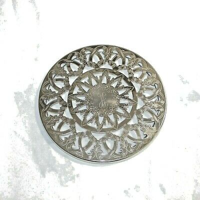 Eales 1779 Silver Plated Glass Trivet  Italy Vintage Round Made Decorative