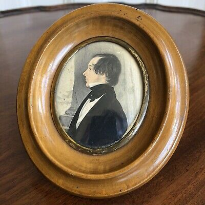 An Antique Early 19th Century Watercolour Portrait Miniature Of A Young Man.
