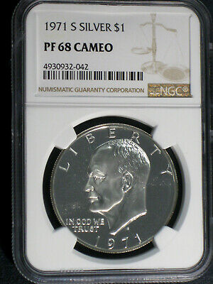 1971-S 40% Silver Proof Eisenhower Dollar NGC PF 68 Cameo
