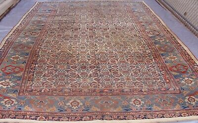 AUTHENTIC ANTIQUE BIJARR HAND KNOTTED 100% WOOL IVORY ORIENTAL RUG  9' x 13'3""