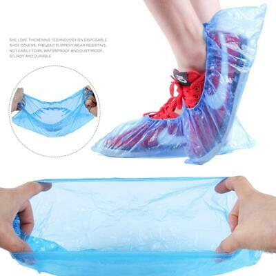 100X Disposable Shoe Cover Blue Anti Slip Plastic Cleaning Overshoes Boot Safety