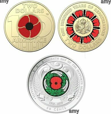 $2 Coloured Coins - 100 years of repatriation - Remembrance POPPY - NZ  50 cent