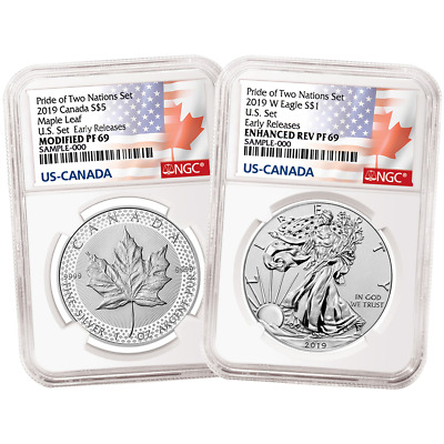 2019 Pride of Two Nations 2pc. Set U.S. Set NGC PF69 ER Flags Label