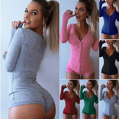 Women Lady V Neck Ribbed Long Sleeve Bodycon Stretch Leotard Top Romper Jumpsuit