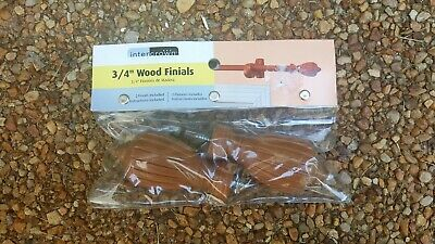 Intercrown 3/4 Wood Finials Set of 2 Oval Wooden Brand New Curtain Rod Screw In
