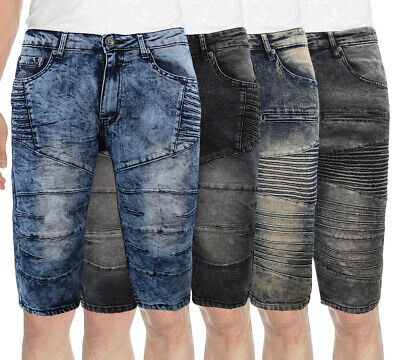Men's Slim Fit Moto Quilted Skinny Distressed Denim Jean Fade Wash Casual Shorts