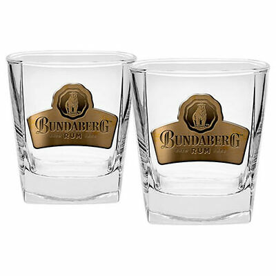 NEW Bundy Bundaberg Bear Rum Set of 2 Spirit Glasses Glass Bar Man Cave Gift