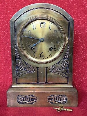 Antique Ansonia Bronze Mantel Clock Case Dial Brass Bezel Beveled Glass Running