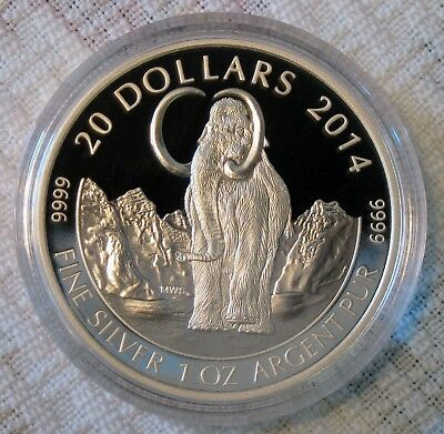 2014 $20 Woolly Mammoth Pure Silver Proof Coin Prehistoric Animals-RCM-Canada