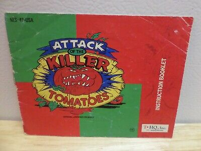 Attack of the Killer Tomatoes Instruction Manual for Nintendo NES THQ