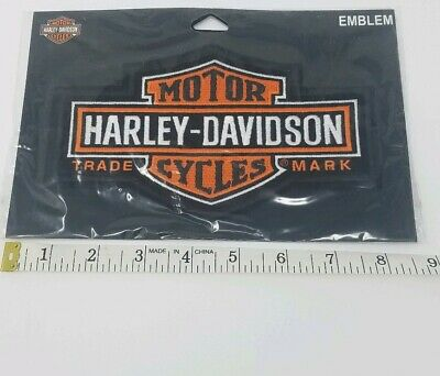 "Harley Davidson Patch Large Orange Logo Sew on 7 1/4 x 4 3/8"" Bar & Shield Biker"