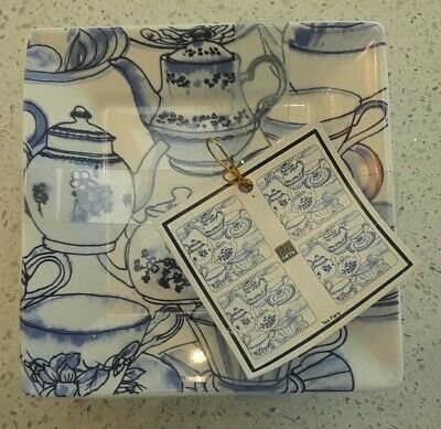 "222 Fifth ""Tea Party"" 5 1/2"" Square Ceramic Dessert Plates, complete set of 4"