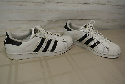 ADIDAS SUPERSTAR SZ. 9.5 Men White Black Leather Low Top Sneaker Shoe CLAM TOE