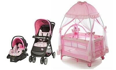Disney Baby Girl Stroller with Car Seat Infant Playard Crib Travel System Combo