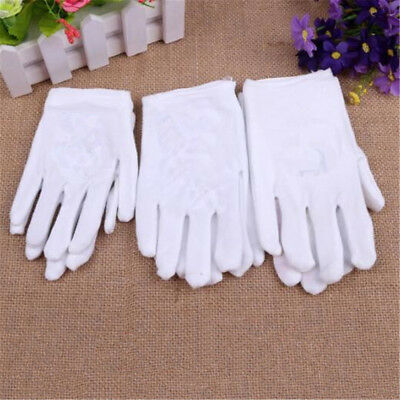 3Pairs White Girls Boys Performance Gloves Party Kids Gloves Mitten