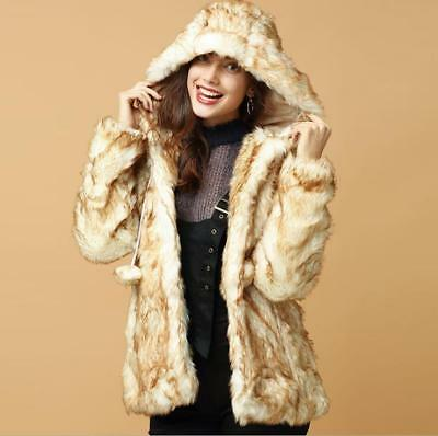 Chic Women Hooded Ball Fluffy Fur Winter Warm Coat Slim Hip Jacket Warm Peacoat